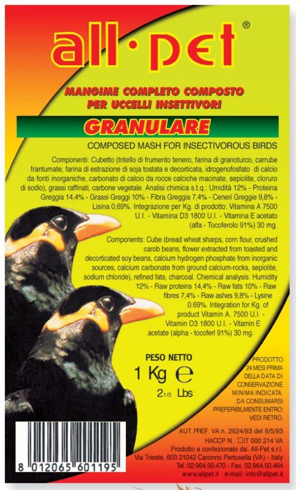 Pastoncino Pellettato nero per merli - 1 kg